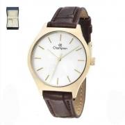 Relógio Champion Couro Dourado CN28295W