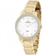 Relógio Champion Feminino Slim em Aço Dourado CS28432H