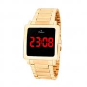 Relógio Digital Feminino Champion Dourado Quadrado Ch40197H