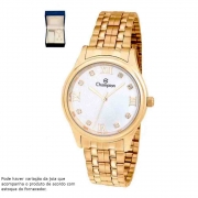 Relógio Feminino Champion Dourado Kit CN24164B