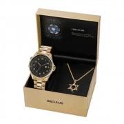 Kit Relógio Seculus Judaísmo Masculino Dourado 23685GPSKDA1K1