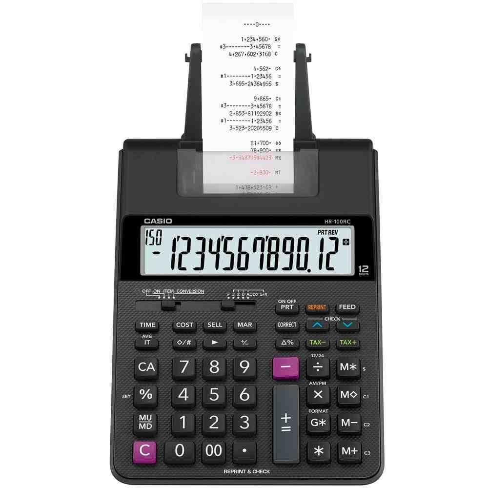 Calculadora Casio 12 Dígitos Com Bobina HR-100RC-BK-B-DC