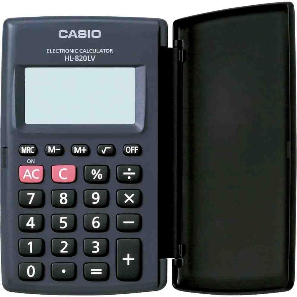 Calculadora De Bolso c/ tampa 8 Dígitos Casio Preta Hl-820lv-bk