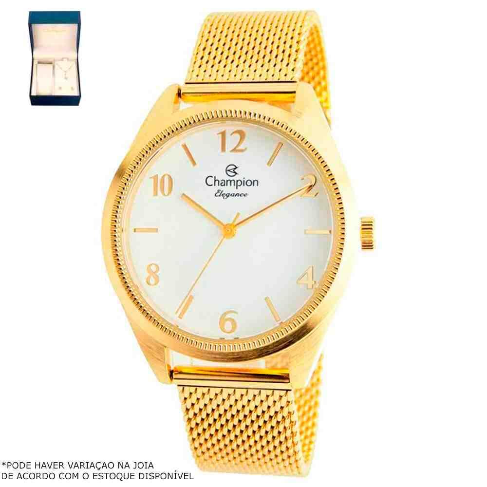 Kit Relógio Champion Feminino Dourado CN25172B