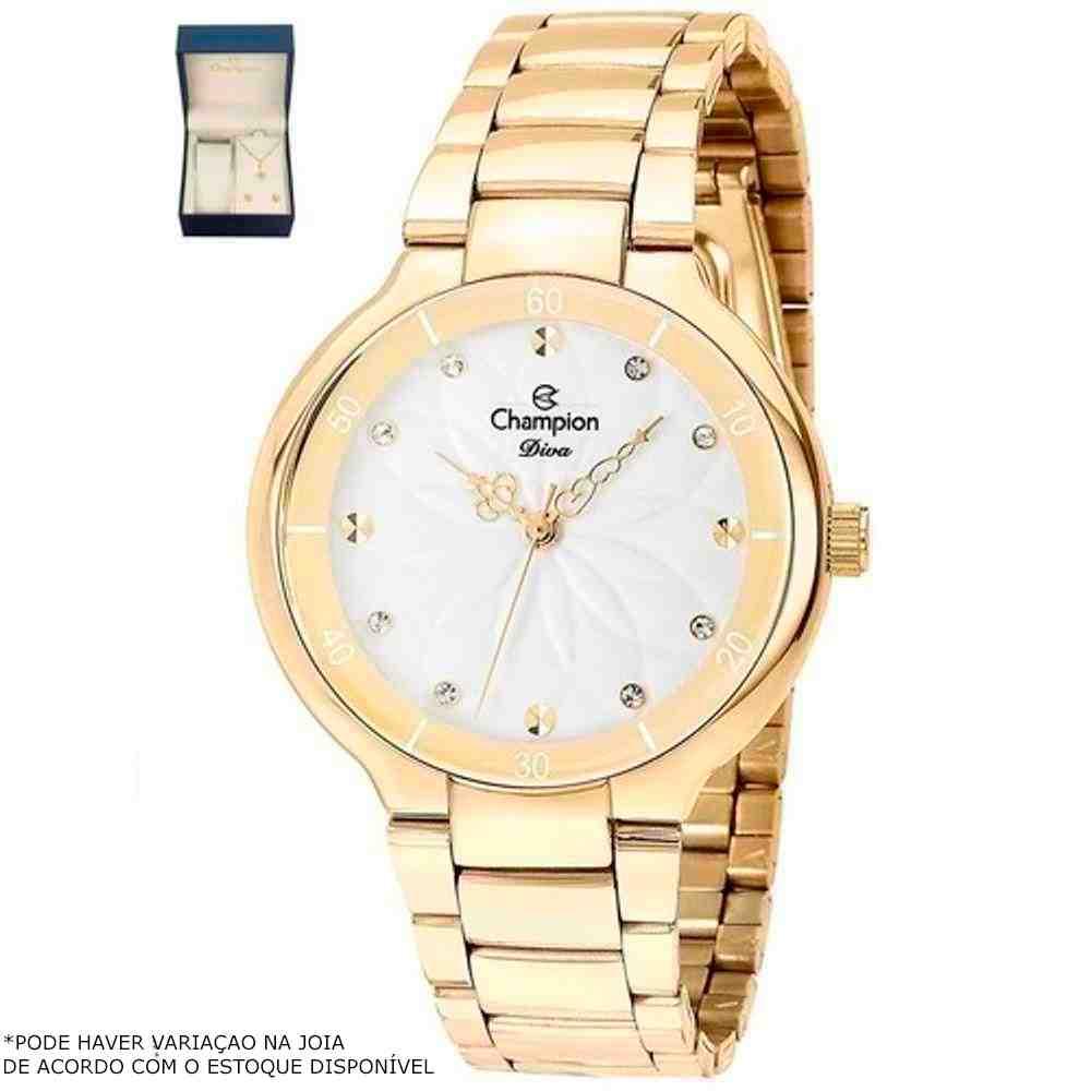 Kit Relógio Champion Feminino Dourado CN25234W