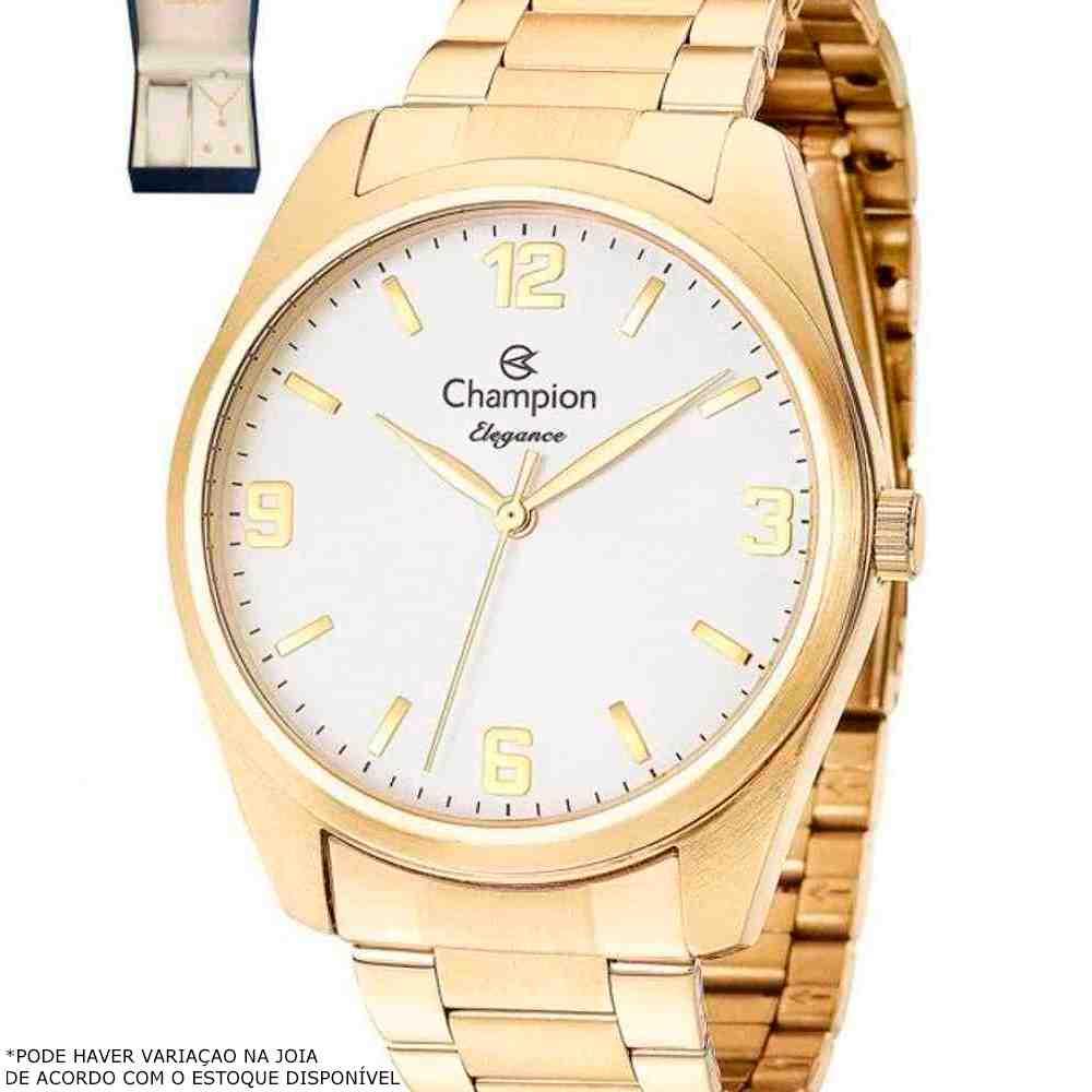 Kit Relógio Champion Feminino Dourado CN26046W