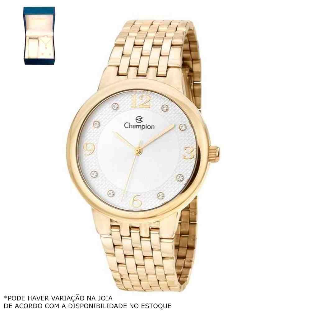 Kit Relógio Champion Feminino Dourado CN28133W