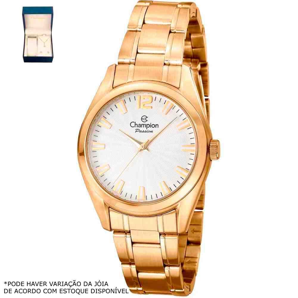 Kit Relógio Champion Feminino Dourado CN29865W