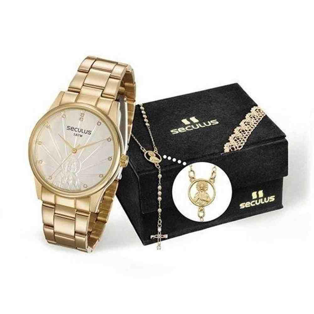 Kit Relógio Feminino Seculus 28918lpskds1 Dourado