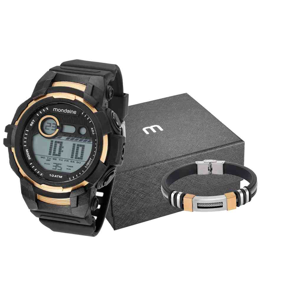 Kit Relógio Mondaine Masculino Preto 11009G0MVNP2K1