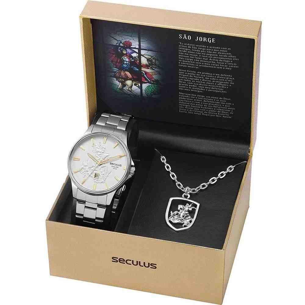 Kit Relógio Seculus Masculino Com Cordão São Jorge 28933G0SKNA2K1