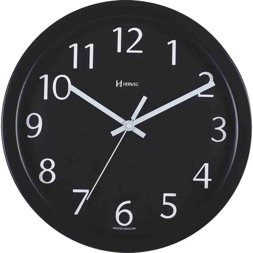 Relógio de Parede Herweg de Alumínio Preto 30,5 cm - 671934