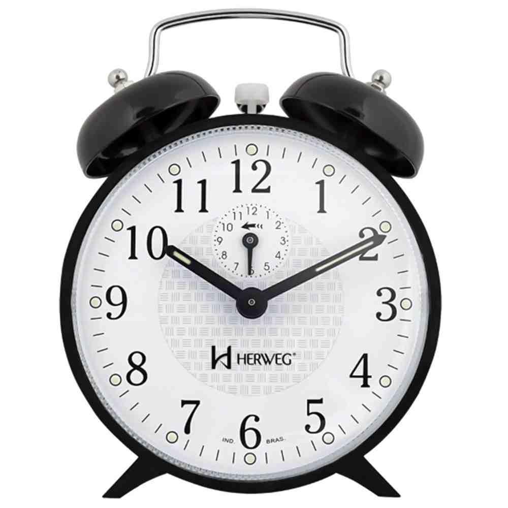 Relógio Despertador Mecânico 2206 Preto Herweg