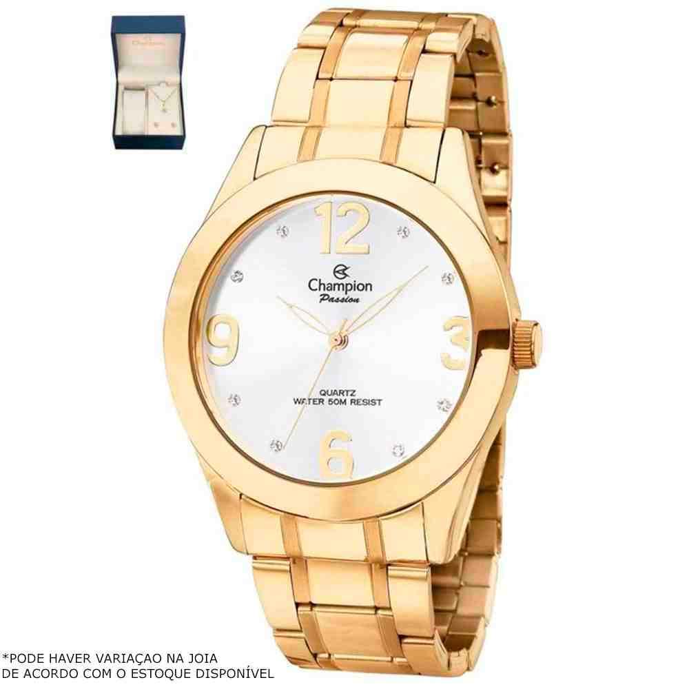 Kit Relógio Feminino Champion Dourado CH24268D