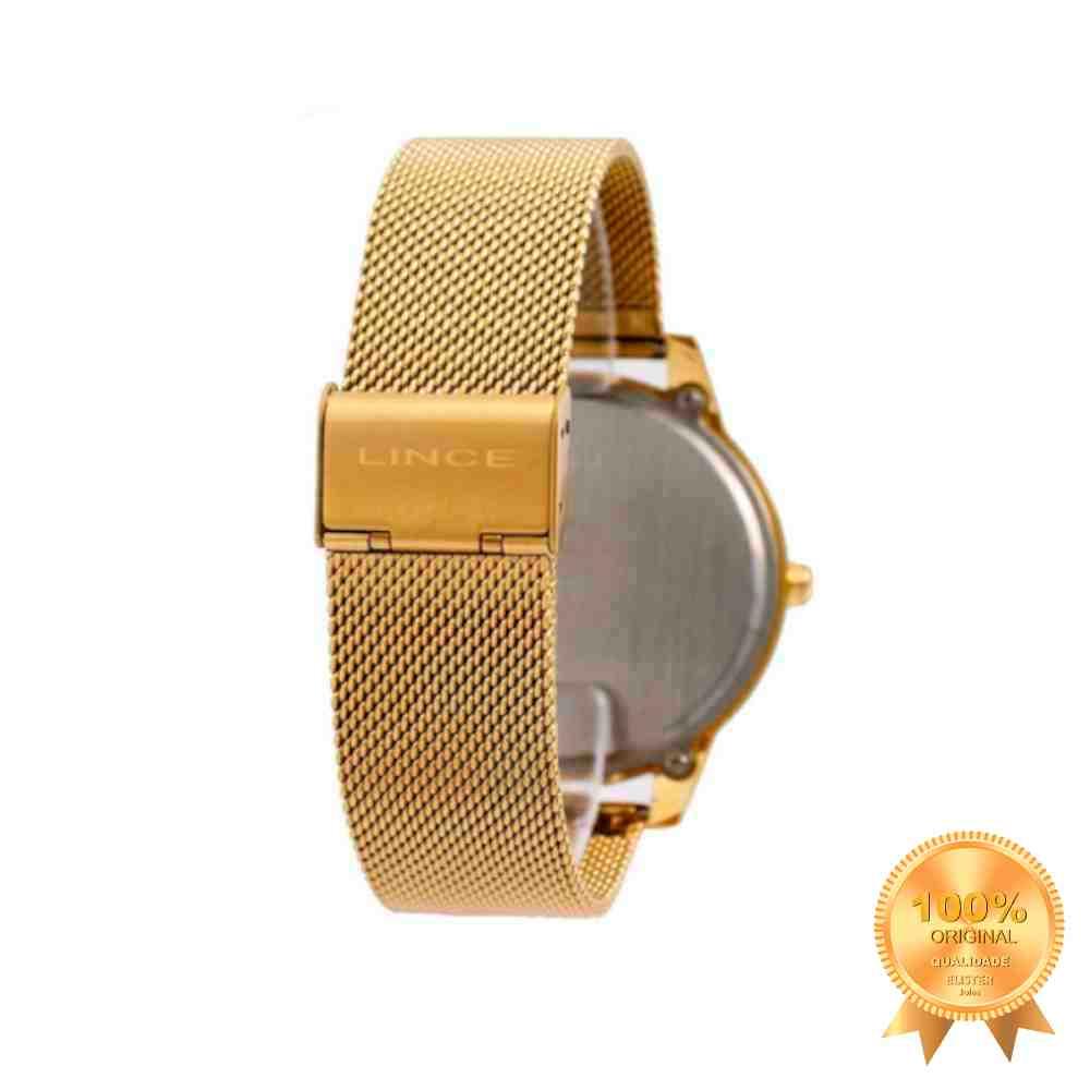 Relogio Lince Feminino Digital Mdg4586l Pxkx Aço Dourado