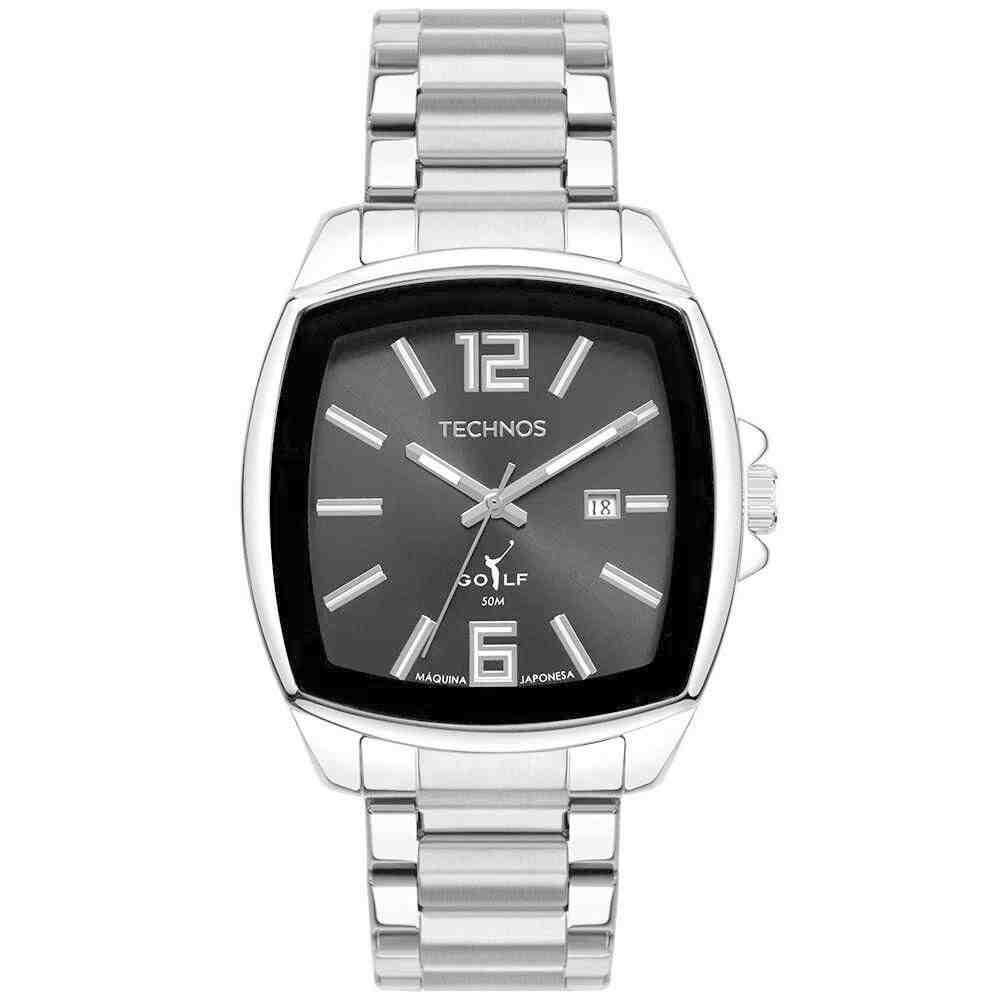Relógio Technos Masculino Golf quadrado Prata 2115MWT/1P