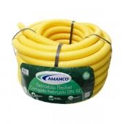 Conduíte flexfort amarelo rolo 32mm x 25m Amanco
