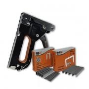 Kit grampeador pinador profissional  + 200 grampos retos + 200 grampos T + 200 grampos U Bestfer