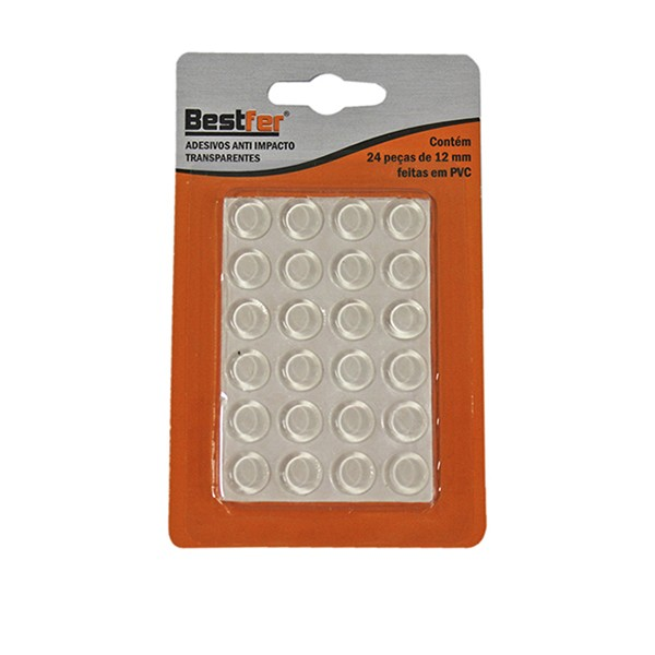 Adesivo anti impacto transparente 12mm | 16g c/ 24 peças Bestfer