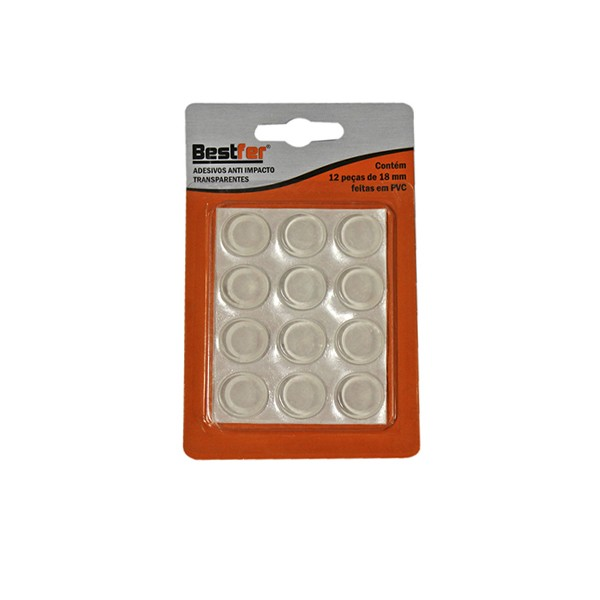 Adesivo anti impacto transparente 18mm | 18g c/ 12 peças Bestfer