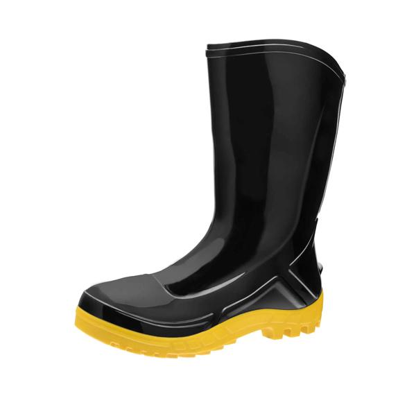 Bota PVC Vulcaflex cano médio c/ solado amarelo s/ bico (110VFLEX PRA) - Marluvas