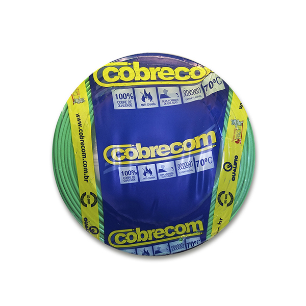 Cabo flexível 10,0mm x 100m Verde Cobrecom