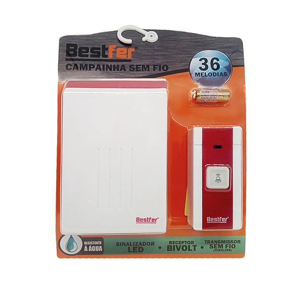 Campainha s/ fio bivolt 36 toques (resistente a água) vermelho/branco Bestfer