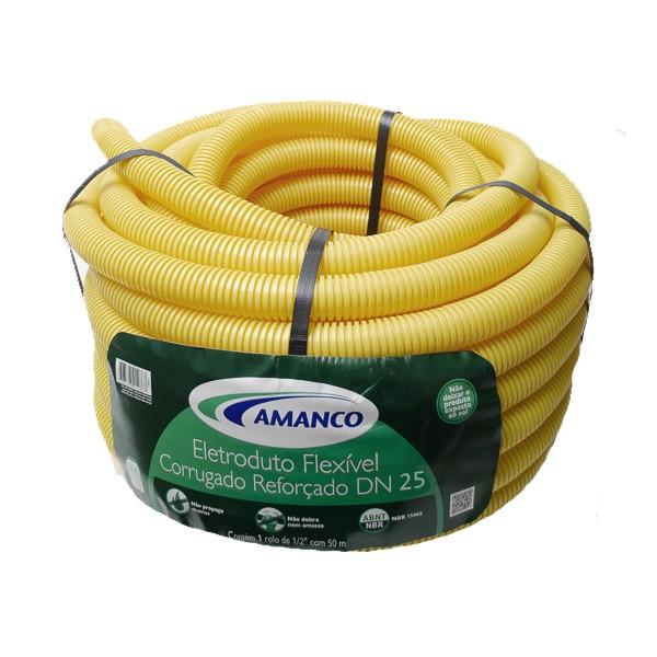 Conduíte flexfort amarelo rolo 25mm x 50m Amanco