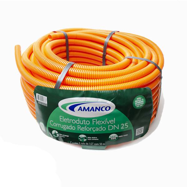 Conduíte flexfort laranja rolo 25mm x 50m (11913) Amanco