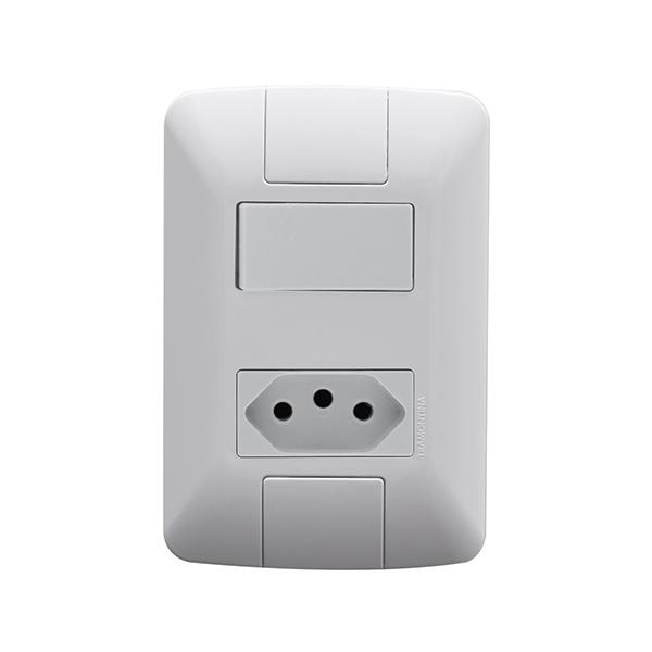 Conjunto 1 interruptor simples 6A + 1 tomada 2P+T 10A Tramontina