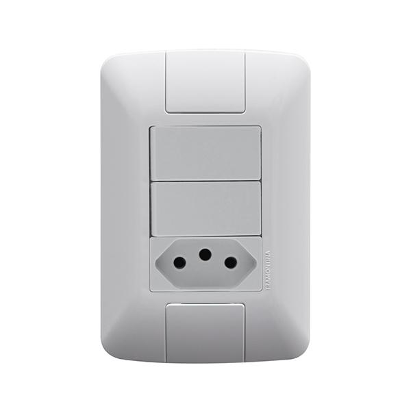 Conjunto 2 interruptores simples 6A + 1 tomada 2P+T10A Tramontina