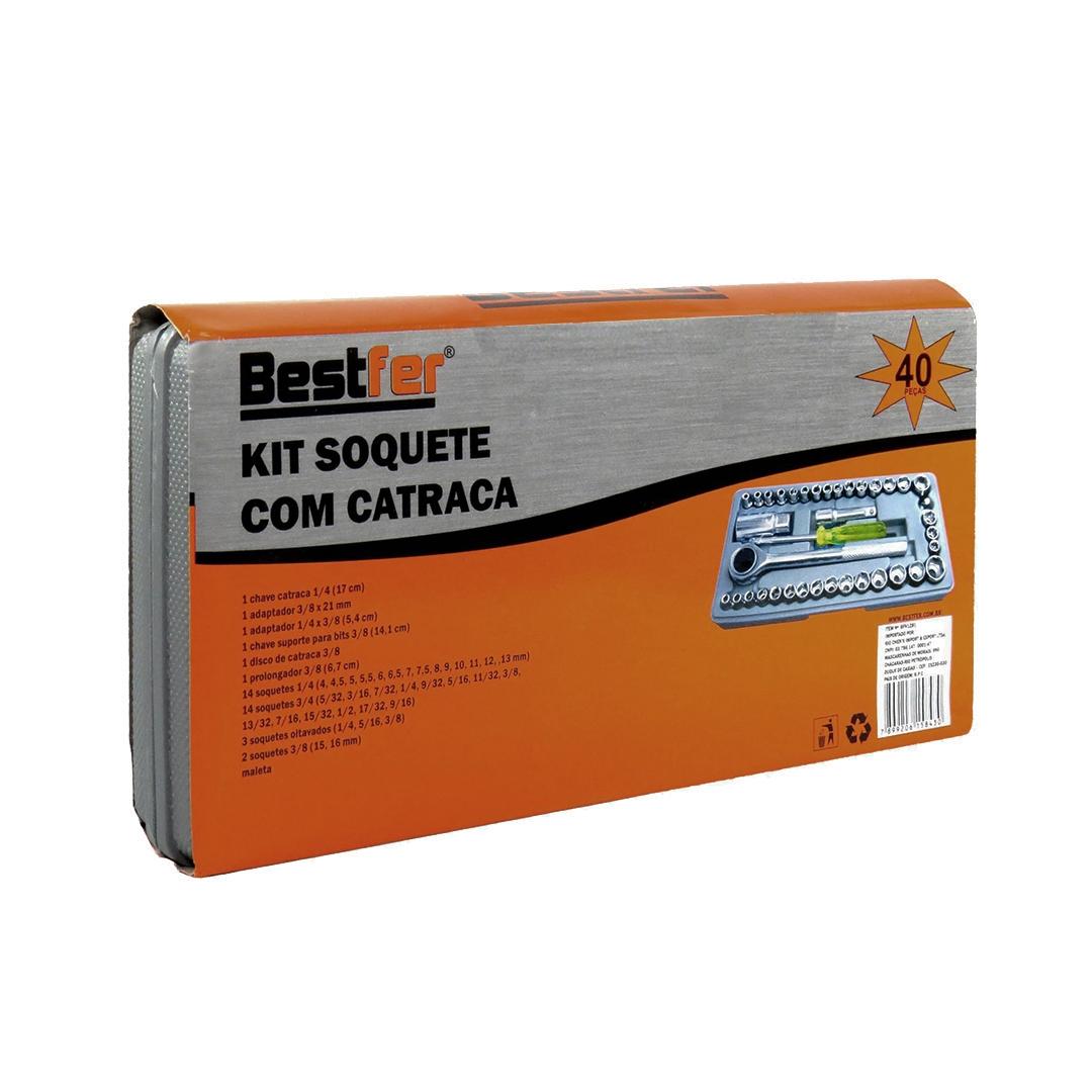 Jogo de chave soquete c/ catraca 40 peças (BFH1281) Bestfer