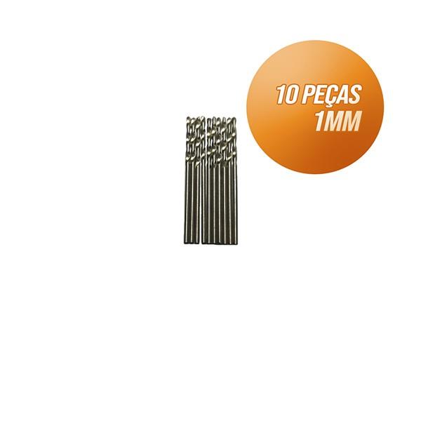 Kit broca aço rápido c/ 10 peças din338 hss 1mm Bestfer
