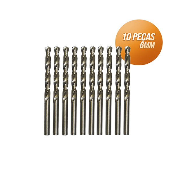 Kit broca aço rápido c/ 10 peças din338 hss 6mm Bestfer