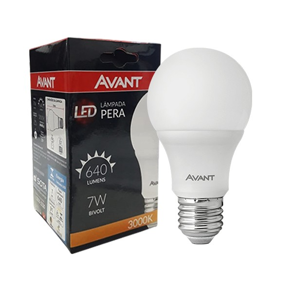Kit pague 9 leve 10 - Lâmpada pera led 7W morna 3500K bivolt Avant