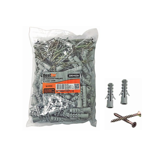 Kit parafuso phillips 10mm x 50mm e bucha nylon 5mm x 60mm 100 peças Bestfer