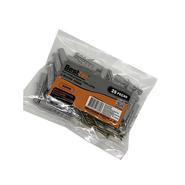 Kit parafuso phillips 4mm x 45mm e bucho nylon 8mm x 40mm 25 peças Bestfer