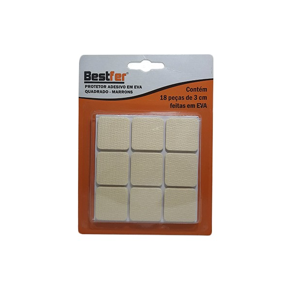 Protetor adesivo eva quadrado marrom 3cm | 10g c/ 18 peças Bestfer
