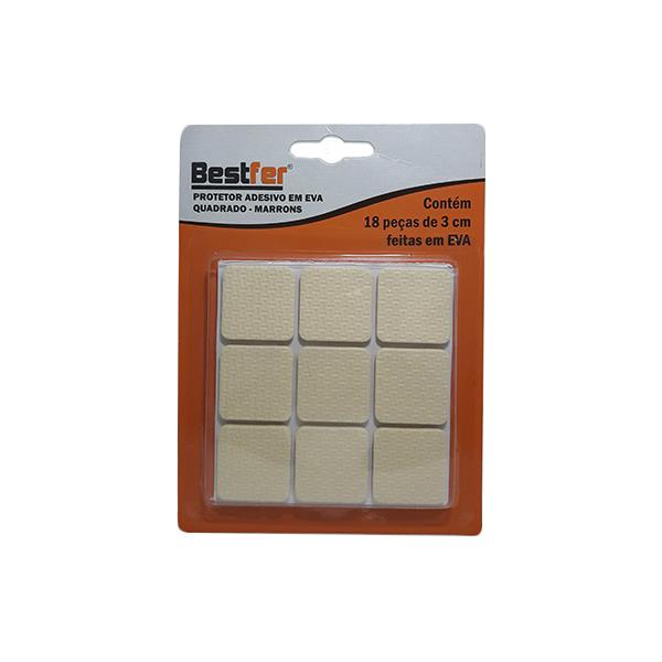 Protetor adesivo eva quadrado marrom 3cm   10g c/ 18 peças Bestfer