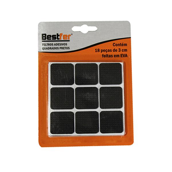 Protetor adesivo eva quadrado preto 3cm | 10g c/ 18 peças Bestfer