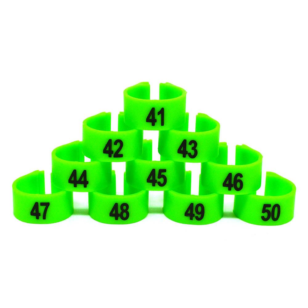 Anilhas 10,5mm - Numeradas - 10 unidades - Verde