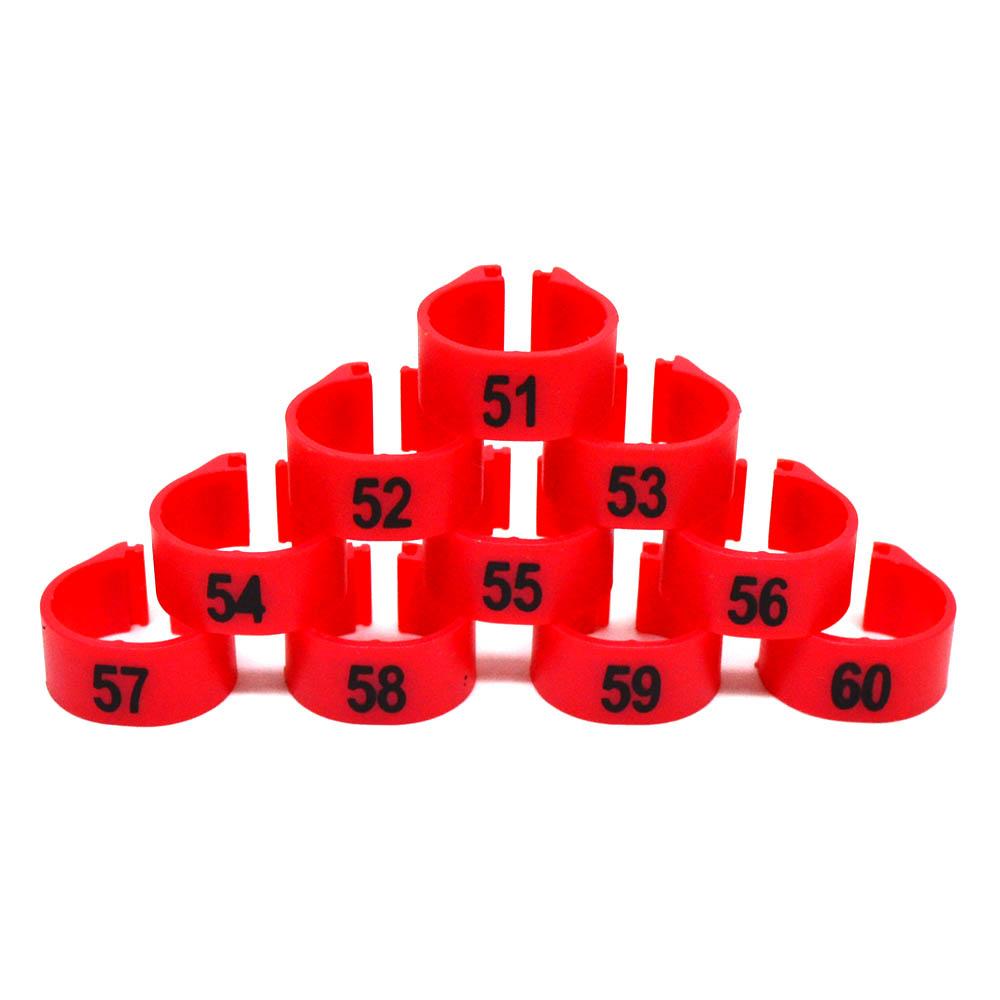 Anilhas 12mm - Numeradas - 10 unidades - Vermelho