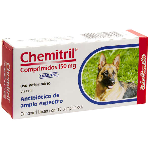 Antibiótico Chemitec Chemitril 150 mg para Cães - 10 comprimidos