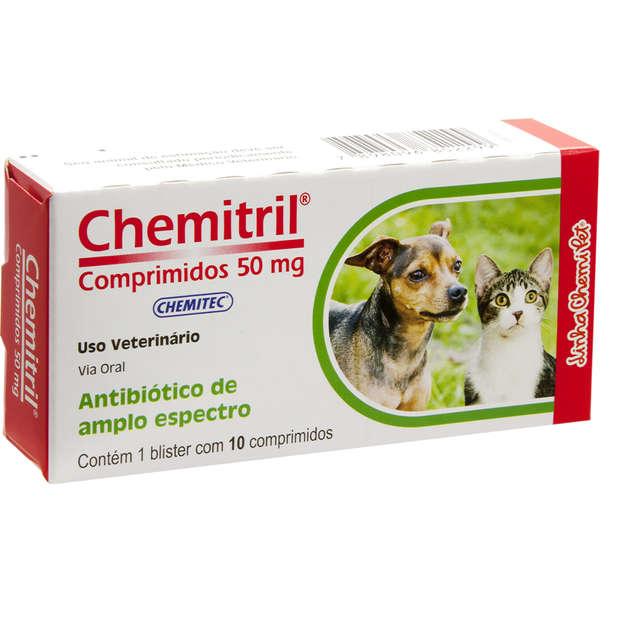 Antibiótico Chemitec Chemitril 50 mg para Cães e Gatos - 10 comprimidos