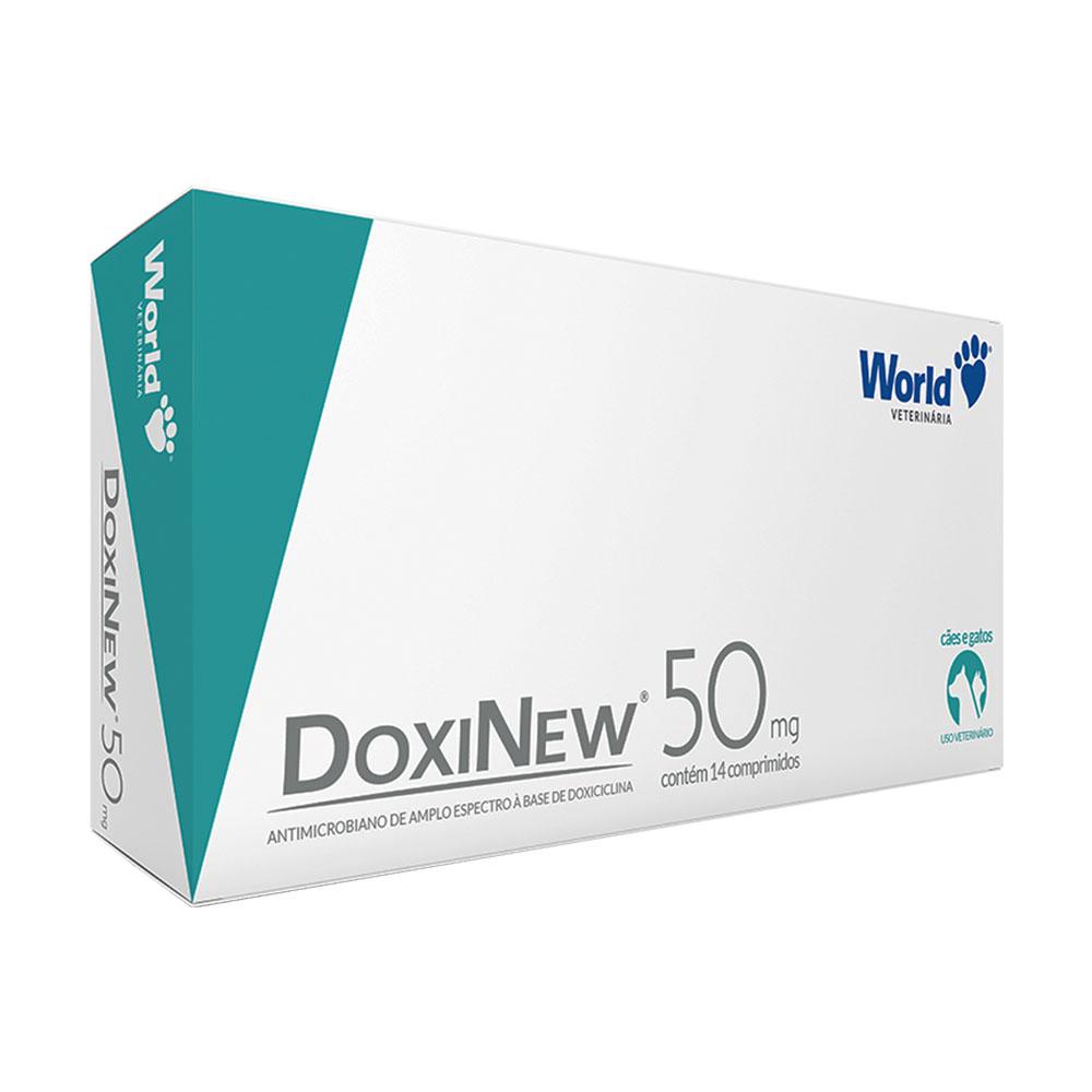 Antimicrobiano World Veterinária DoxiNew 50 mg para Cães de 10 Kg e Gatos de 3 Kg