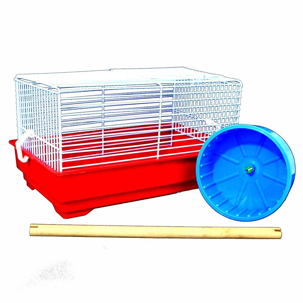 Gaiola Transporte com poleiro e carrosel para Pássaros, Hamster e outros Roedores