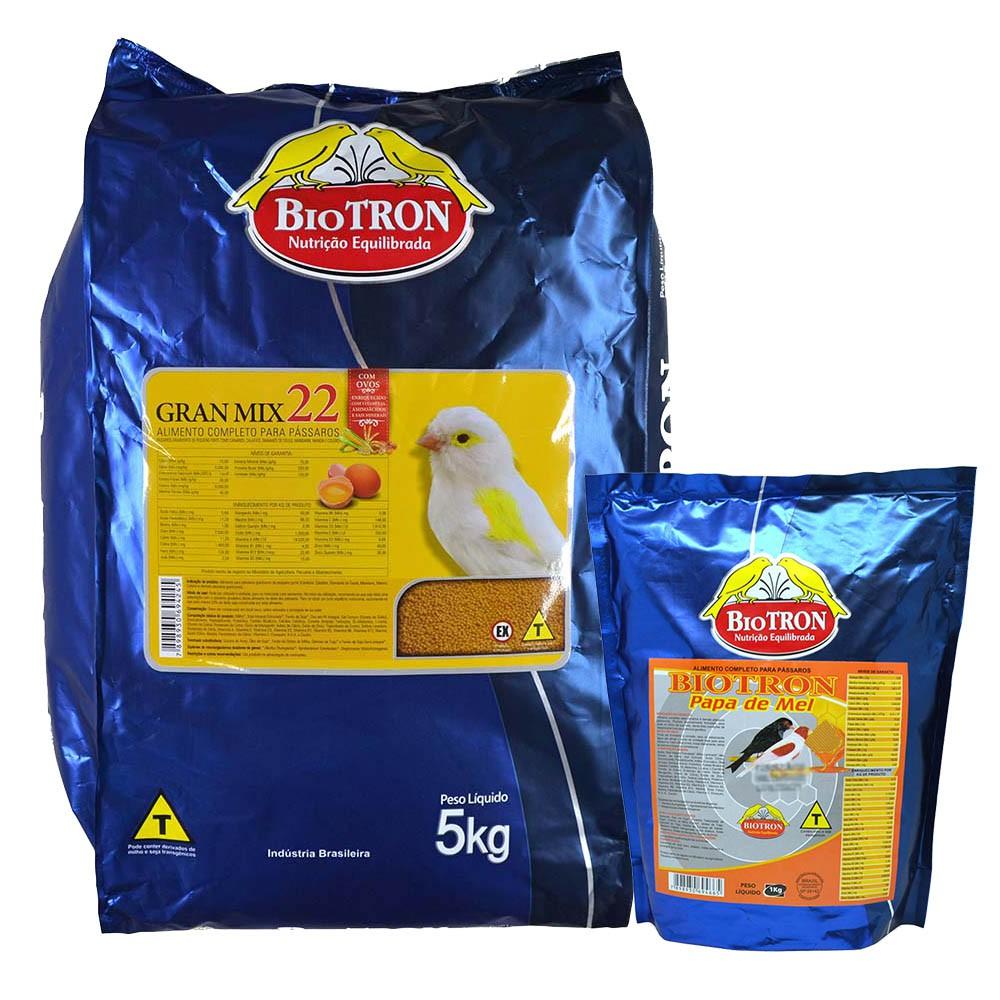 Kit 1 Gran Mix 22 5kg + 1 Papa De Mel 1kg Para Canários Aves