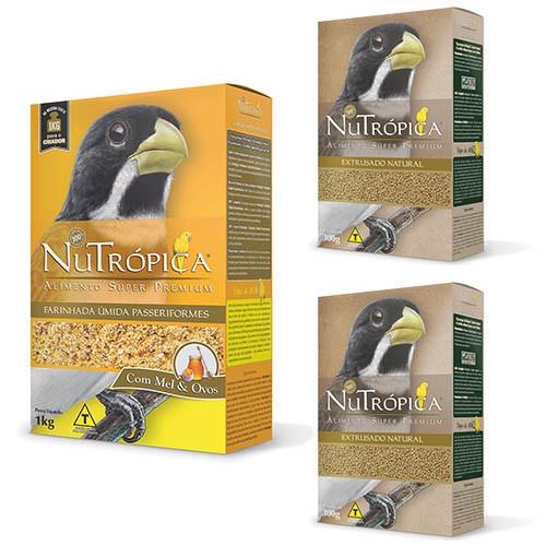 Kit 1 Nutrópica Farinhada Coleiro 1kg + 2 Coleiro Natural 300g