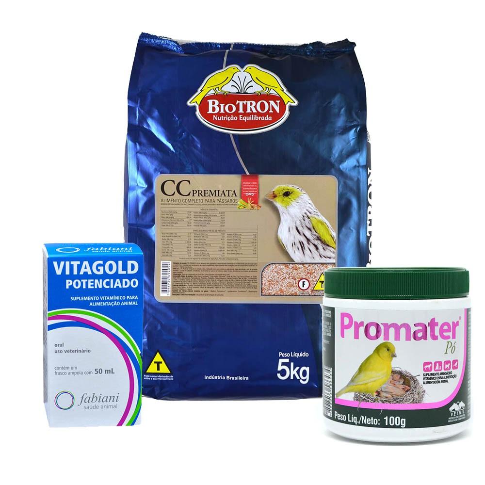 Kit 1 Promater Pó 100g + 1 CC Premiata 5kg + 1 Vitagold 50ml