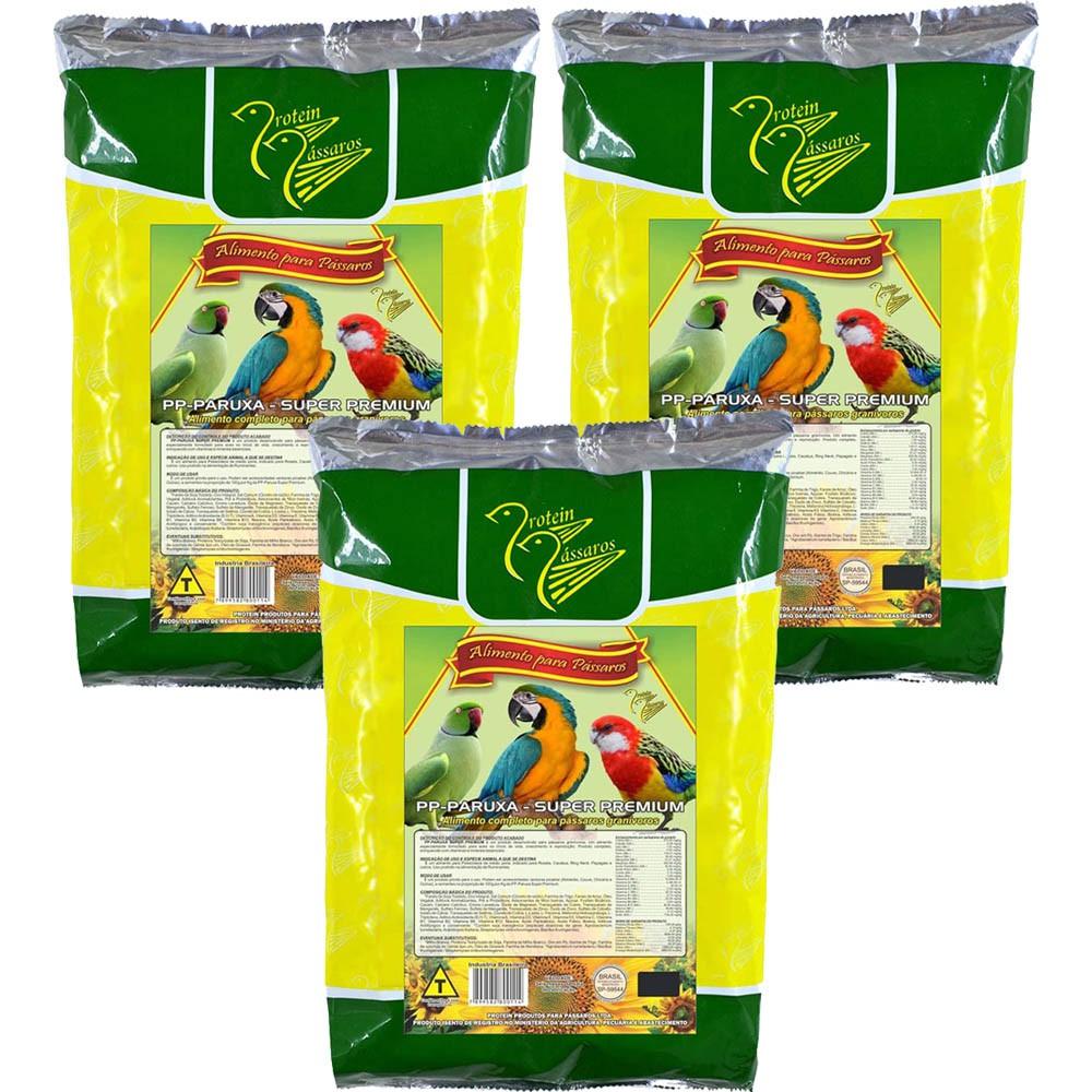 Kit 3 PP Paruxa Super Premium 1kg Farinhada Top Protein